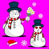 Xmas snowman cartoon expression set6 Royalty Free Stock Photos