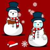 Xmas snowman cartoon expression set01 Royalty Free Stock Photo