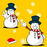 Xmas snowman cartoon expression set02 Stock Image