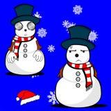Xmas snowman cartoon expression set03 Royalty Free Stock Photo