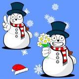 Xmas snowman cartoon expression set04 Royalty Free Stock Photography