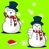 Xmas snowman cartoon expression set05 Royalty Free Stock Photo