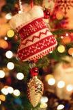 Xmas sock. This is photo of christmas sock on xmas tree royalty free stock photos