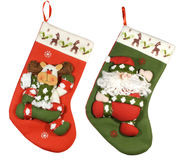 Xmas socks. Two nice xmas stockings isolated over white with clipping path Stock Image