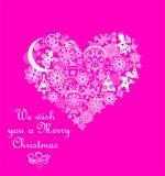 Xmas som hälsar det rosa kortet med vit hjärtaform för hantverk med pappers- bitande klirrklockor, snöflingor, änglar, pepparkaka royaltyfri illustrationer