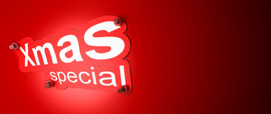 Xmas special. Sticker over a red background Royalty Free Stock Photos