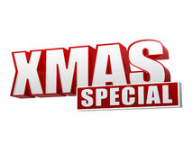 Xmas special in 3d red letters and block Royalty Free Stock Photo