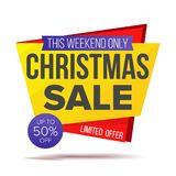 Xmas Special Offer Sale Banner Vector. Holidays Sale Announcement. Isolated On White Illustration Stock Image
