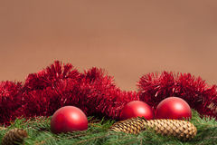 Xmas. Spheres and Pine Cones in Xmas Setting with Copyspace Stock Photo