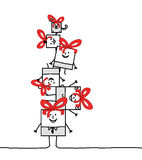 Xmas square family. Hand drawn cartoon characters - Xmas square family vector illustration