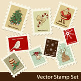 Xmas stamps. Vector Christmas hand drawn stamps set stock illustration