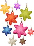 Xmas star label set Stock Photos