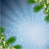 Xmas stardust background. Christmas blured decoration with fir branch and glitter stars stock illustration