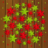 Xmas starry decorations on wood Stock Photography
