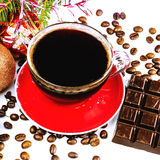 Xmas still life cup of black coffee, beans, chocolate, christmas tree and balls Royalty Free Stock Photo