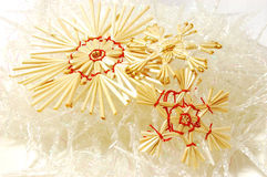 Xmas straw snowflakes Royalty Free Stock Photo