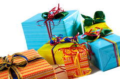Xmas surprise. Xmas gifts in red, green and blue papers Stock Image