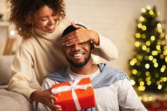 Free Xmas Surprise. Loving Wife Giving Gift To Husband Stock Photo - 160927850