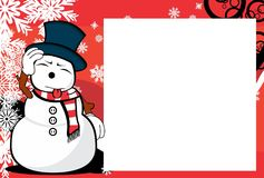 Xmas sweet snow man cartoon expression picture frame background. Xmas funny snow man cartoon expression picture frame background in vector format Royalty Free Stock Images