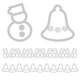 Xmas-symboler - snögubbe och klocka arkivbild