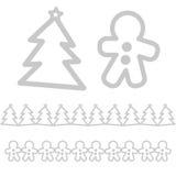 Xmas-symboler - träd- och pepparkakaman royaltyfri foto