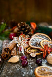 Xmas Symbols such as snow, nuts, and berries Royalty Free Stock Photo