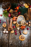 Xmas Symbols such as snow, nuts, berries Stock Image