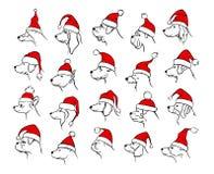 Xmas szczęśliwi 2018 nowego roku zarysowywać sylwetki różni pies głów profile ilustracji