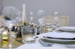 Xmas table setting Royalty Free Stock Image