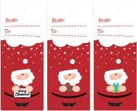 Xmas tags. With cute santas stock illustration