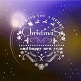 Xmas tags-06. Christmas and Happy New Year greeting card, poster with typographic on blurred background vector illustration