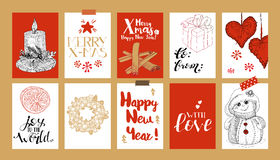 Xmas tags with doodles and greetings Stock Images
