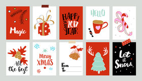 Xmas tags with greetings. Set of Christmas labels. Vector collection with doodle illustrations and typography. Sketch illustration of holidays symbols stock illustration