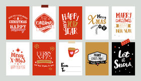 Xmas tags with text greetings. Set of Christmas label designs. Vector collection with doodle illustrations and typography. Sketch illustration of holidays royalty free illustration