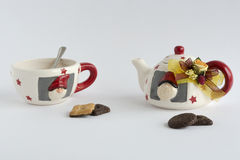 Xmas teacup z ciastkami Fotografia Royalty Free