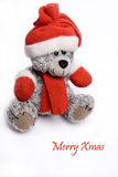 Xmas Teddy Bear. Isolated on white background with text Merry Xmas Stock Photo