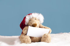 Xmas teddy bear with card Royalty Free Stock Photo