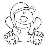 Xmas Teddy Bear Line Art Stock Photography