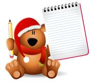 Xmas Teddy Bear Notepad Royalty Free Stock Image