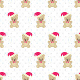 Xmas Teddy Bear seamless pattern on polka dots background. Royalty Free Stock Photos