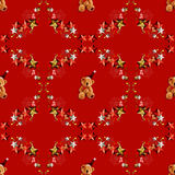 Xmas Teddy Bears Seamless Pattern Stock Photos