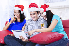 Xmas teenager drinking champagne Stock Image