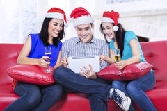 Xmas teenager drinking wine Royalty Free Stock Images