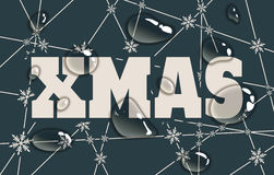 Xmas text on snowflakes backdrop. Xmas text. Snowflakes at the intersection of the lines. Transparent water drops Royalty Free Stock Photography