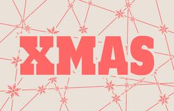 Xmas text on snowflakes backdrop. Xmas text. Vector illustration. Snowflakes at the intersection of the lines Stock Photos