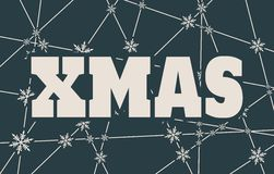 Xmas text on snowflakes backdrop. Xmas text. Vector illustration. Snowflakes at the intersection of the lines Royalty Free Stock Images