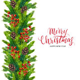 Xmas text on watercolor border of fir branches. Merry Christmas card, xmas text on watercolor seamless border of fir branches, cones and red berry, christmas Stock Photos