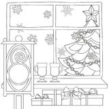 Xmas theme poster with christmas tree, star, garland light, snowflakes, presents, mulled wine, street lantern. Coloring book page for adults and kids. Flat Stock Photo