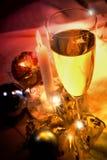 Xmas time. A glass of sparkling white wine in a xmas environment stock photos