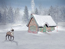 Xmas time, santa's cottage stock illustration